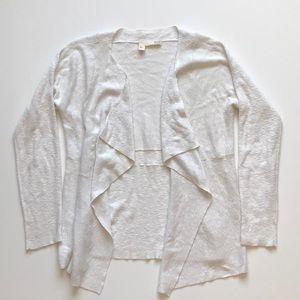 Eileen Fisher white open waterfall cardigan small